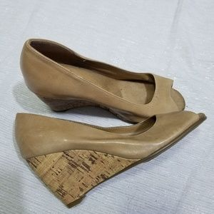Aerosoles Souper Duper Brown Cork Wedges SZ 8.5